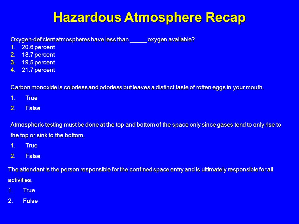Hazardous Atmosphere Recap