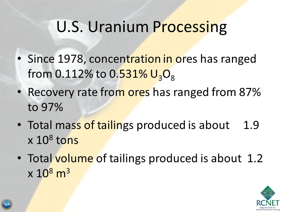 U.S. Uranium Processing Since 1978, concentration in ores has ranged from 0.112% to 0.531% U3O8. Recovery rate from ores has ranged from 87% to 97%