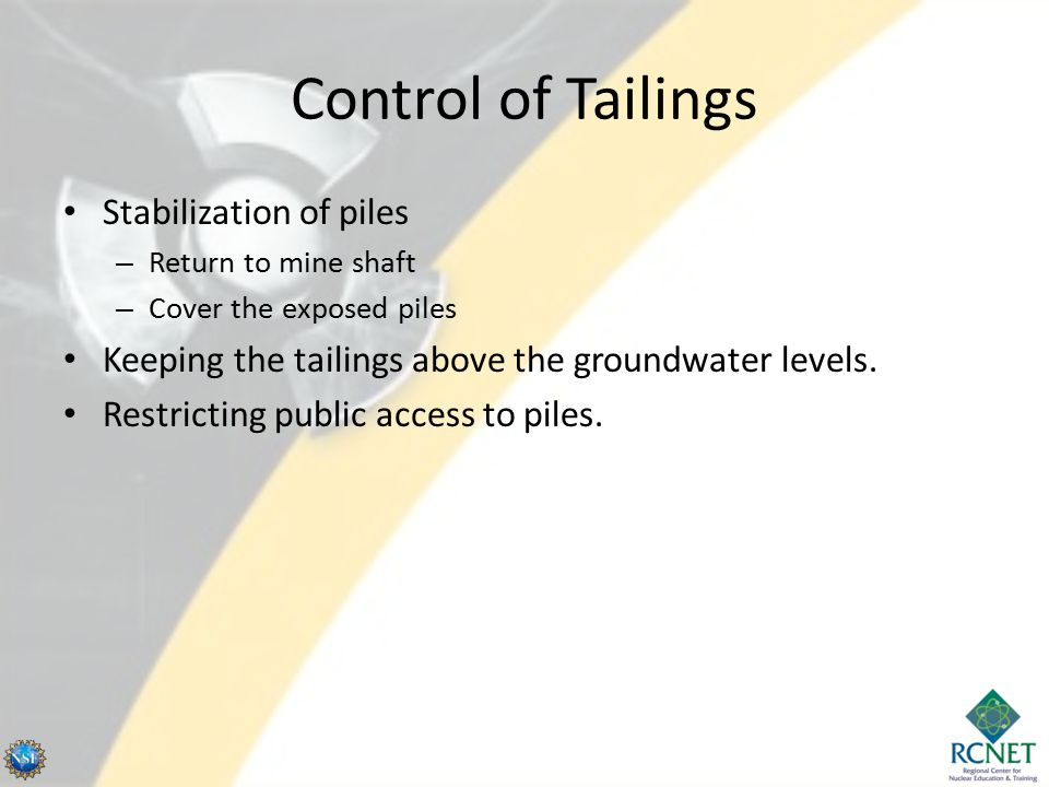 Control of Tailings Stabilization of piles