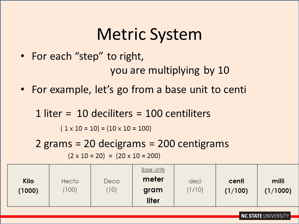 Metric System For each step to right, you are multiplying by 10