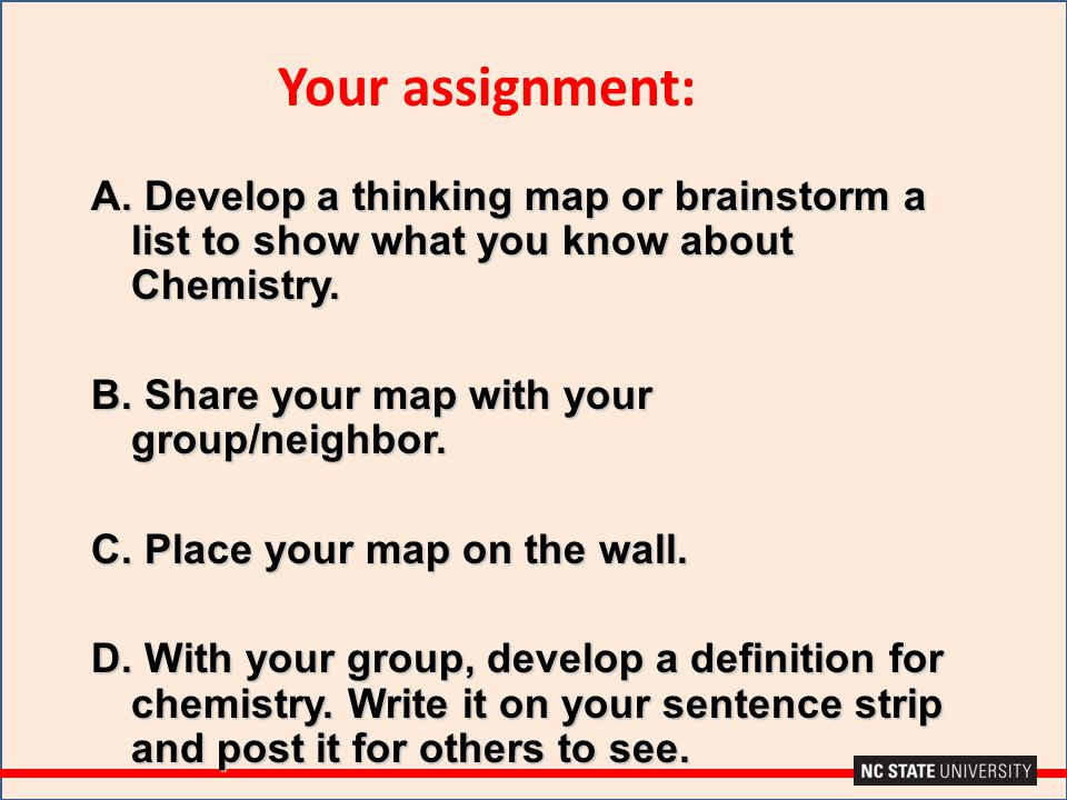 Your assignment: A. Develop a thinking map or brainstorm a list to show what you know about Chemistry.