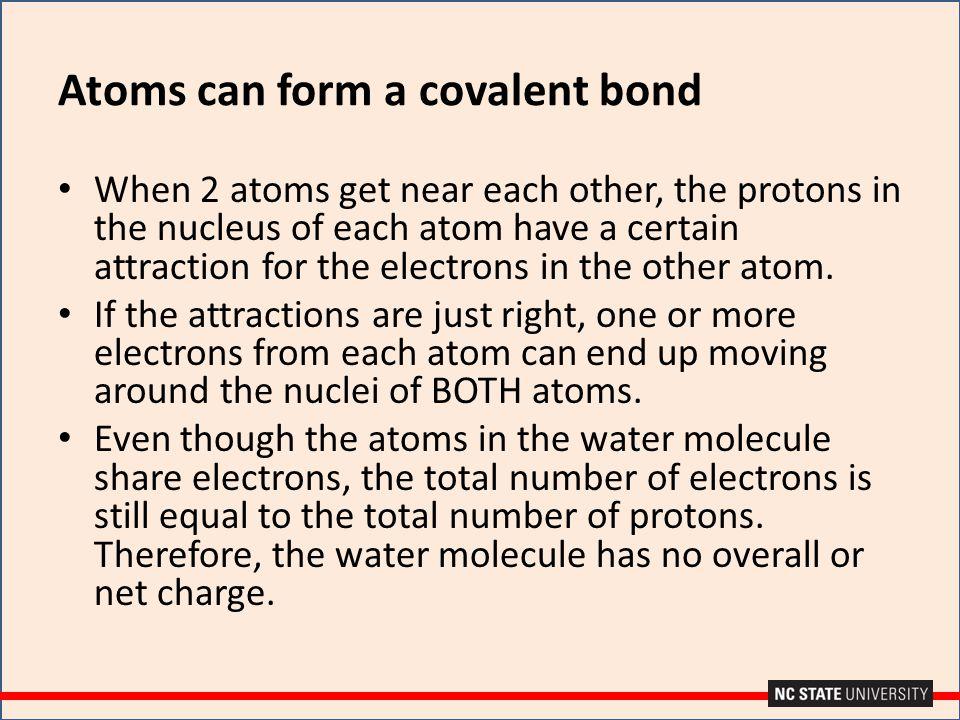 Atoms can form a covalent bond