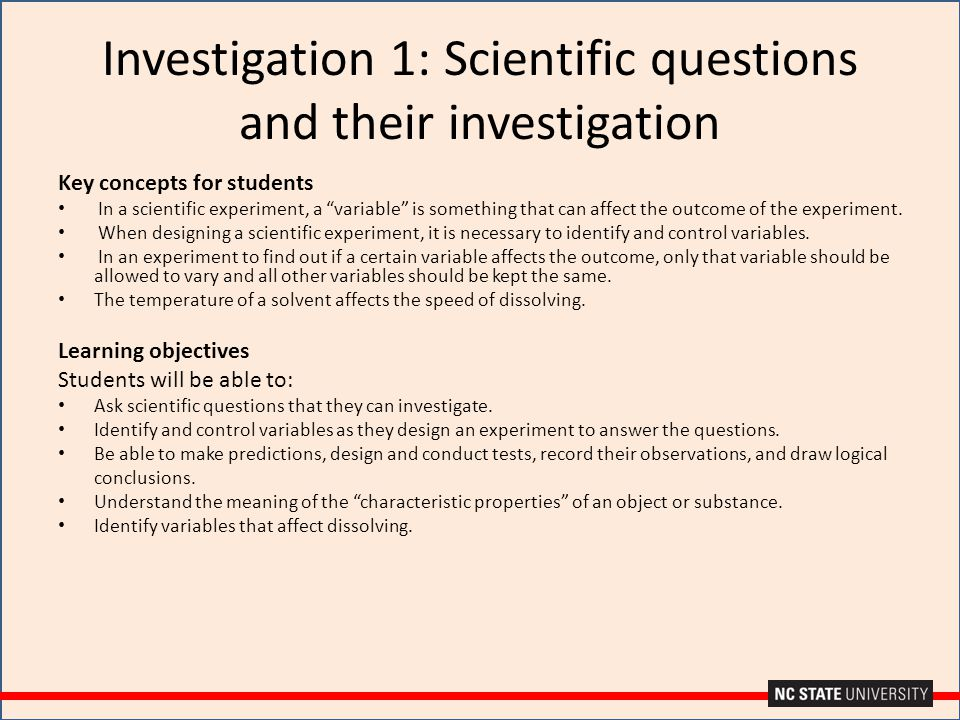 Investigation 1: Scientific questions and their investigation