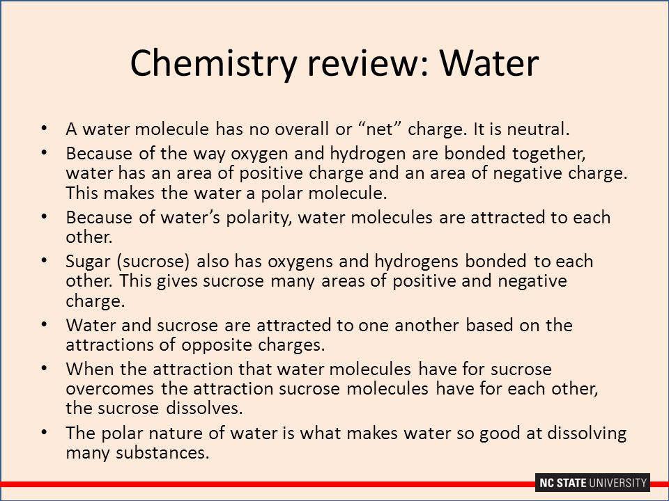 Chemistry review: Water