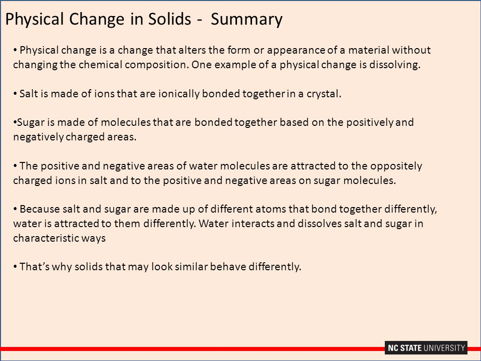 Physical Change in Solids - Summary