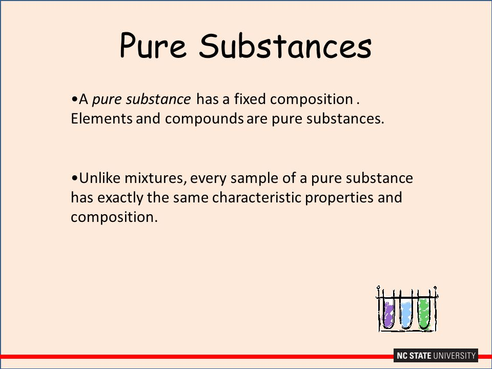 Pure Substances A pure substance has a fixed composition . Elements and compounds are pure substances.