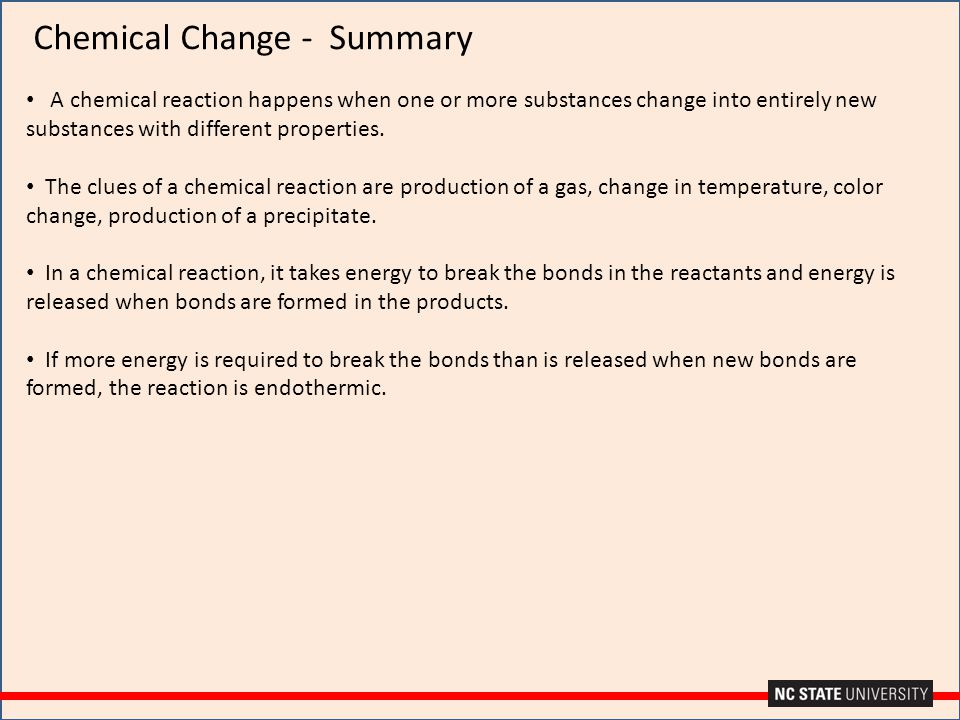 Chemical Change - Summary