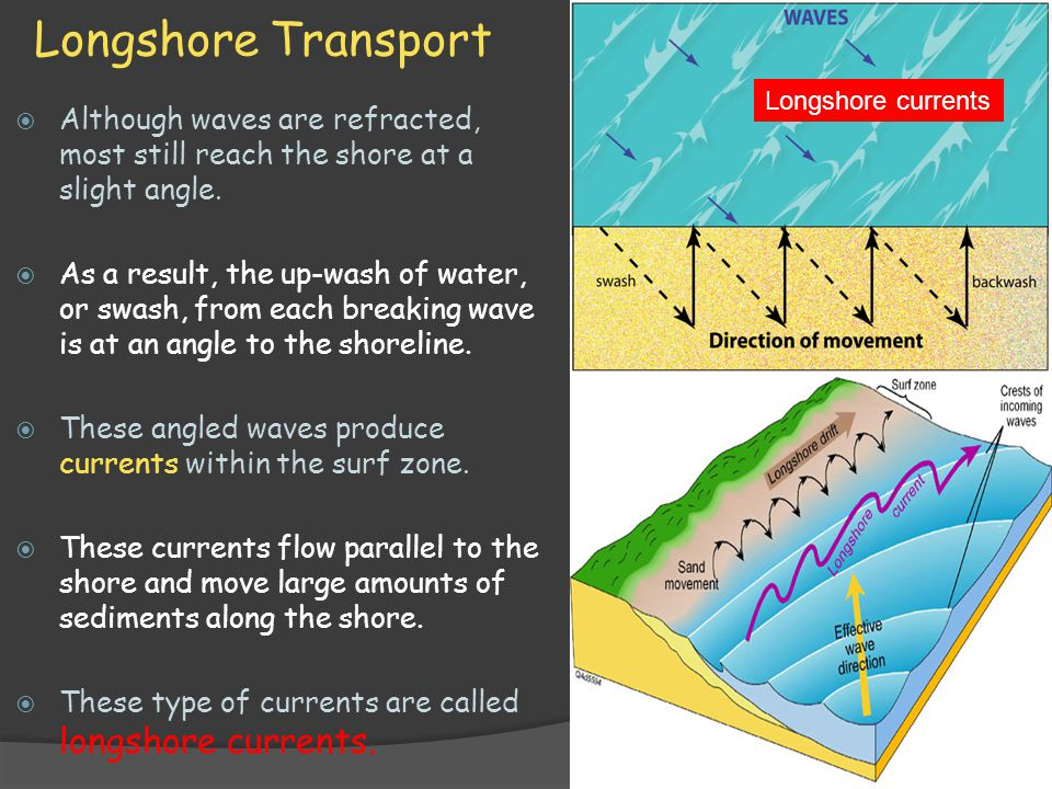 Longshore Transport Longshore currents. Although waves are refracted, most still reach the shore at a slight angle.