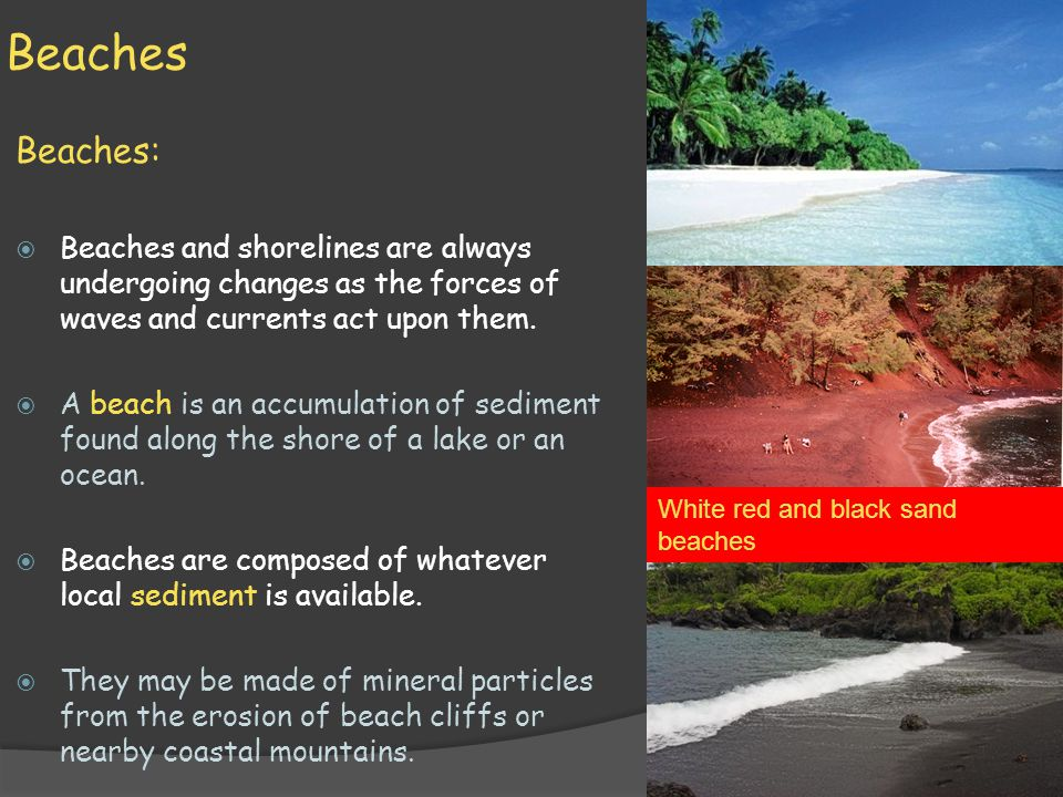 Beaches Beaches: Beaches and shorelines are always undergoing changes as the forces of waves and currents act upon them.
