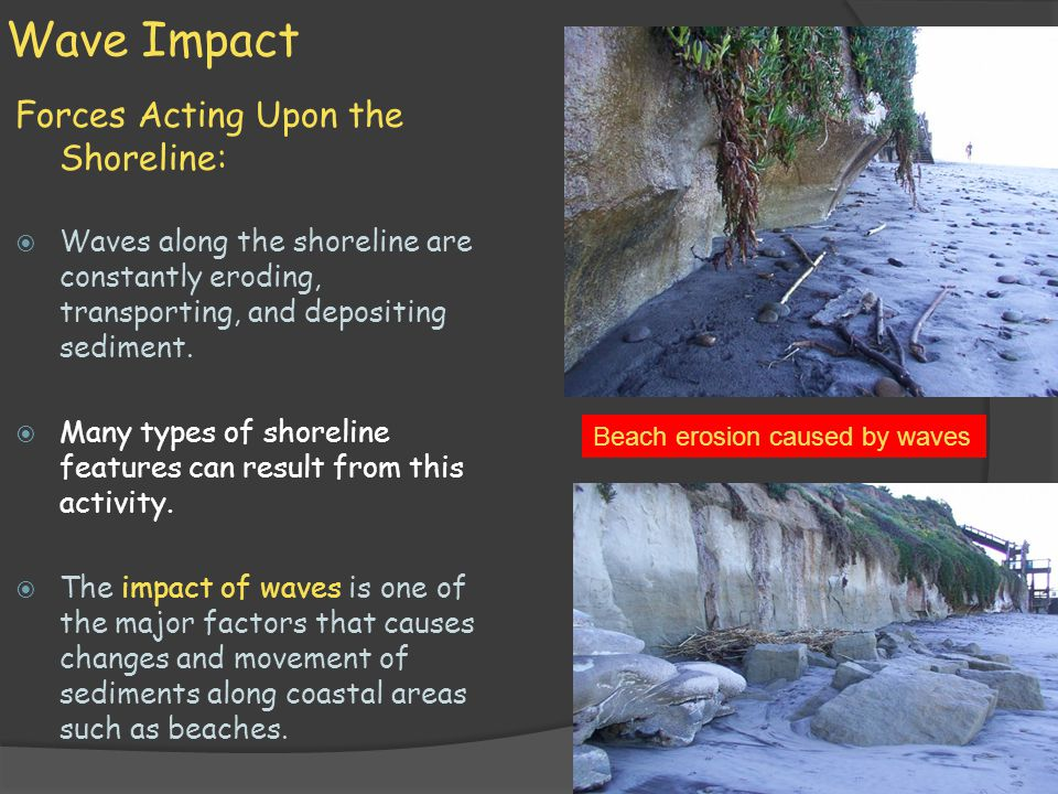Wave Impact Forces Acting Upon the Shoreline: