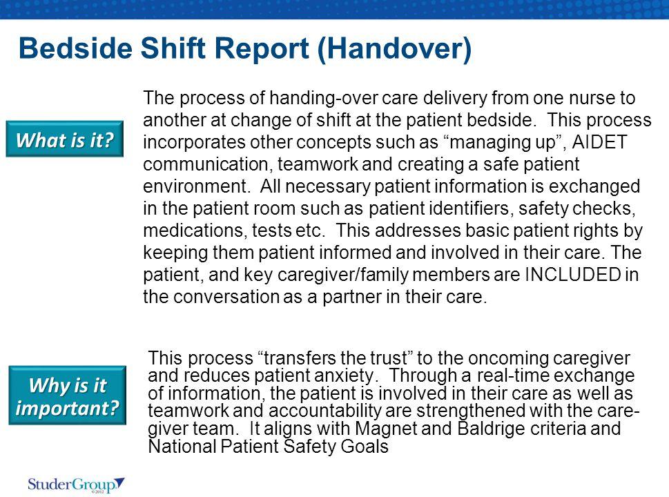 Bedside Shift Report (Handover)