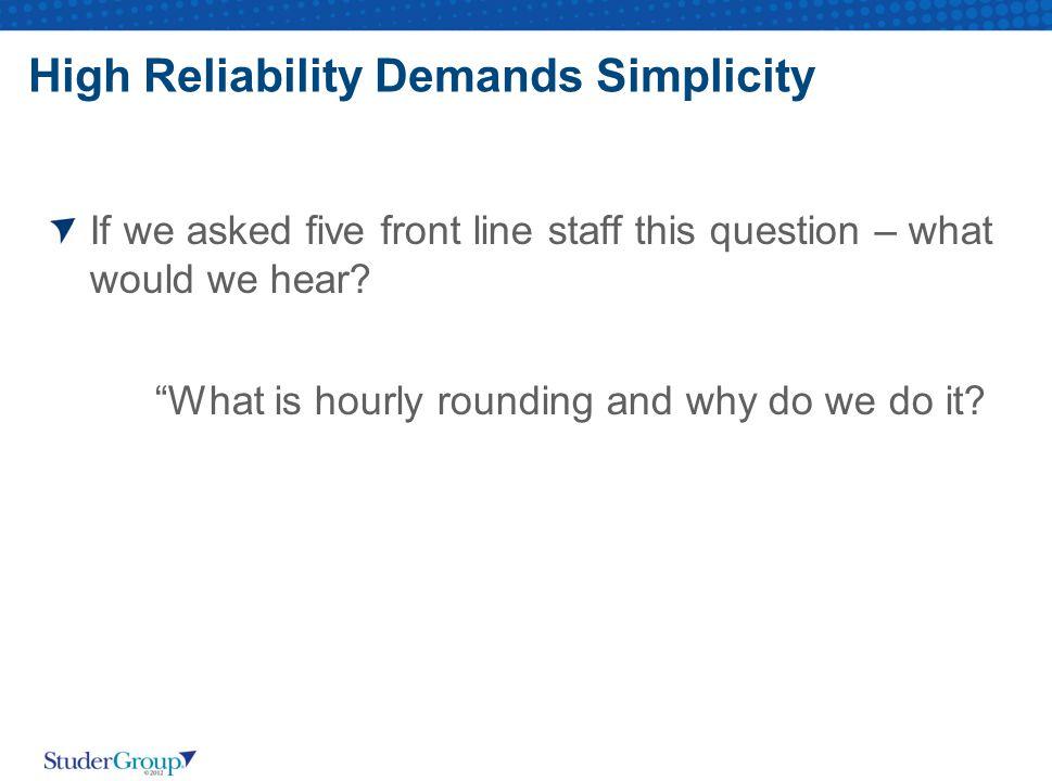 High Reliability Demands Simplicity