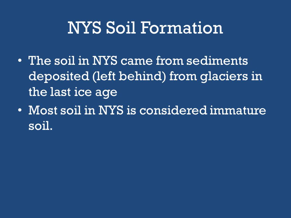 NYS Soil Formation The soil in NYS came from sediments deposited (left behind) from glaciers in the last ice age.