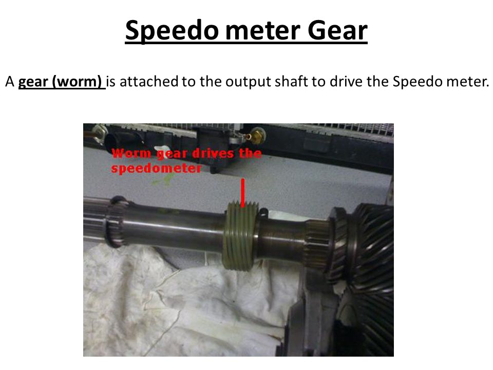 Speedo meter Gear A gear (worm) is attached to the output shaft to drive the Speedo meter.