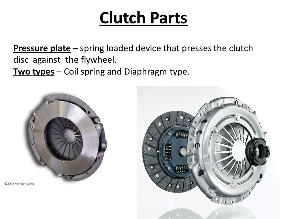 Clutch Parts Pressure plate – spring loaded device that presses the clutch disc against the flywheel.