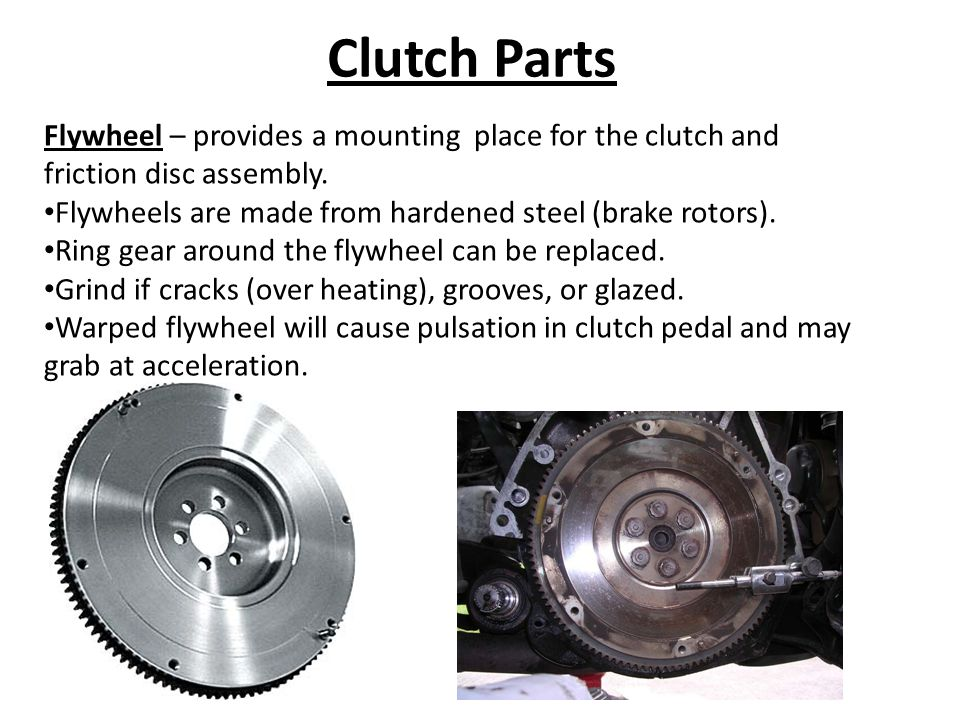 Clutch Parts Flywheel – provides a mounting place for the clutch and friction disc assembly.