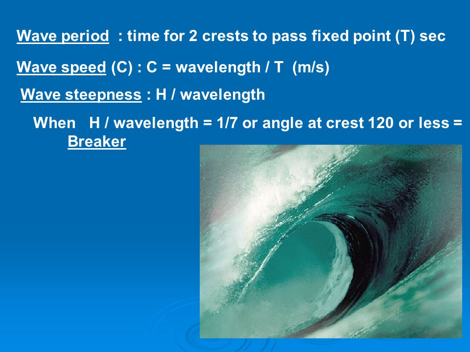 Wave period : time for 2 crests to pass fixed point (T) sec