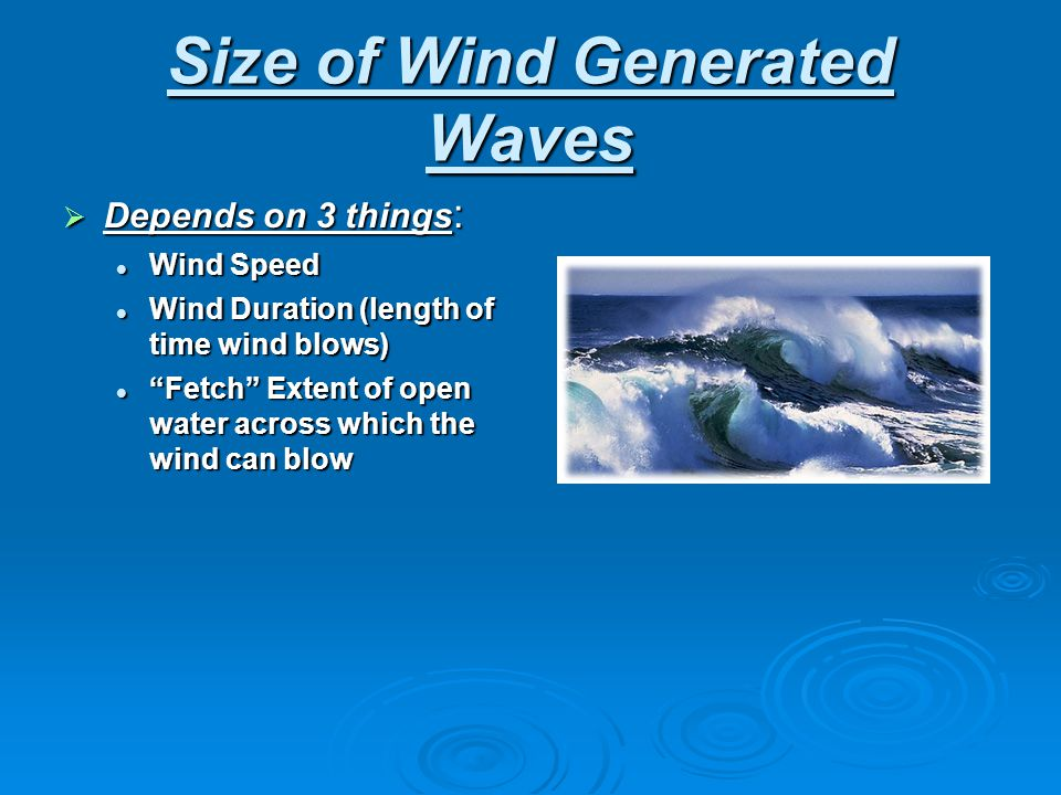Size of Wind Generated Waves