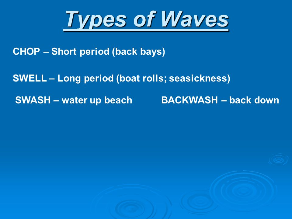 Types of Waves CHOP – Short period (back bays)