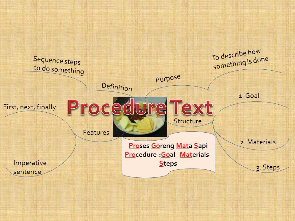 Proses Goreng Mata Sapi Procedure :Goal- Materials- Steps