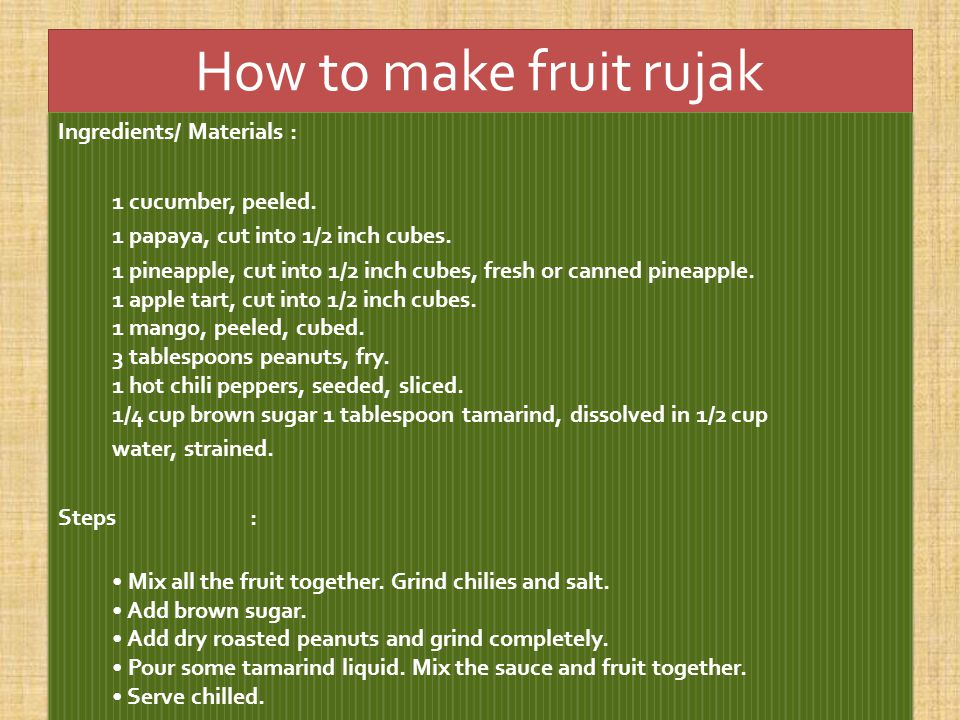 How to make fruit rujak