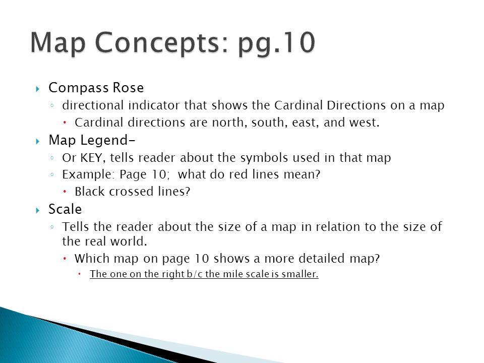 Map Concepts: pg.10 Compass Rose Map Legend- Scale