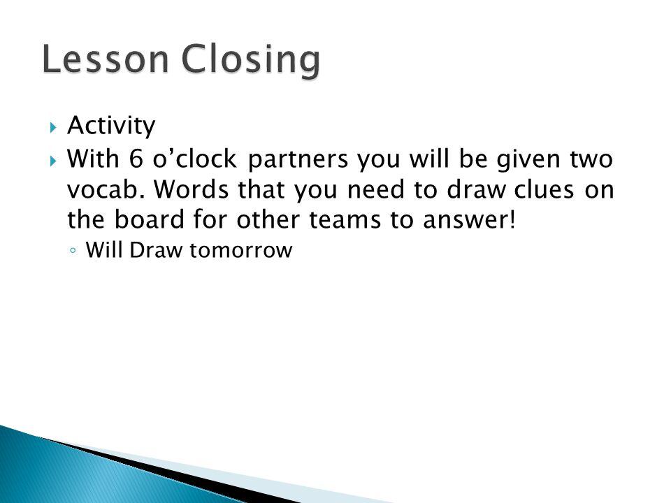 Lesson Closing Activity