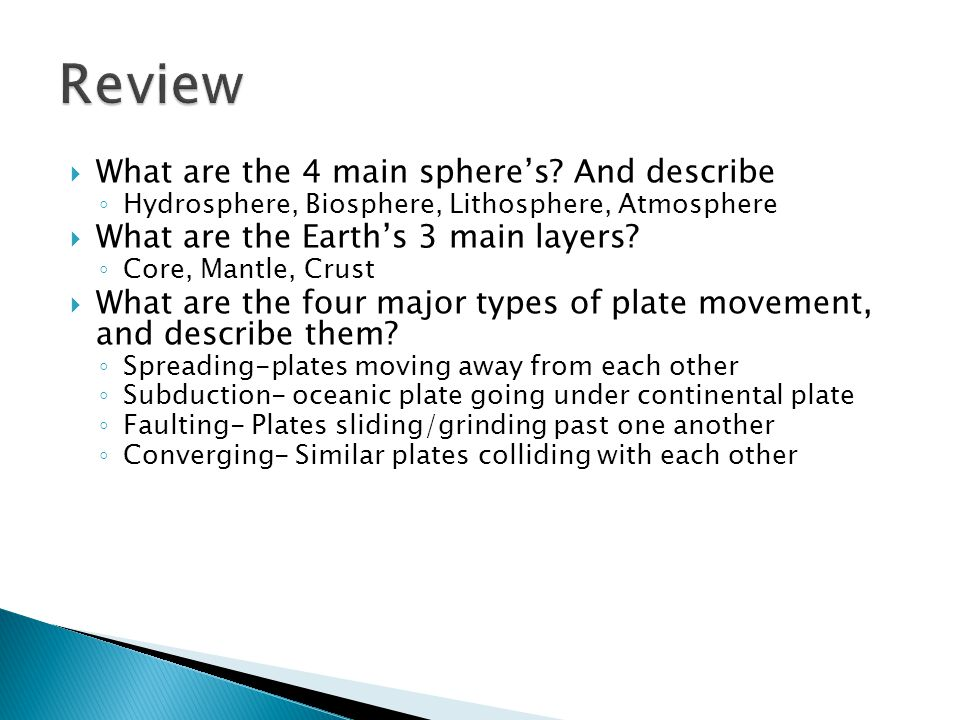 Review What are the 4 main sphere's And describe