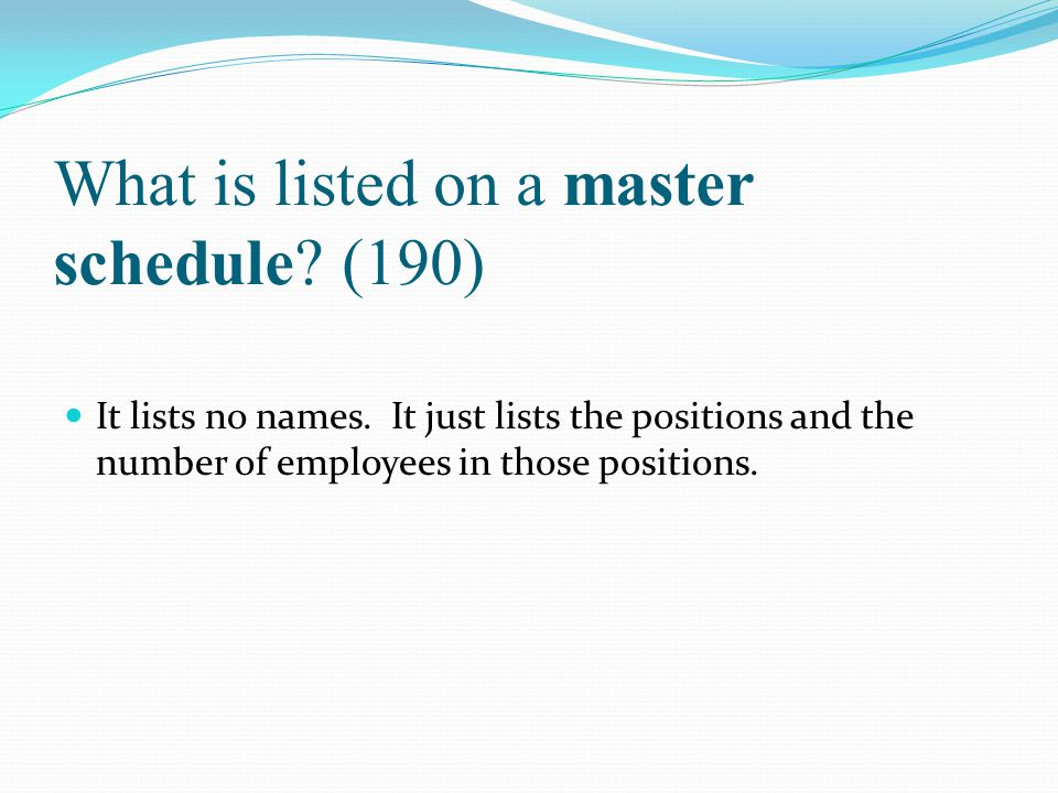 What is listed on a master schedule (190)