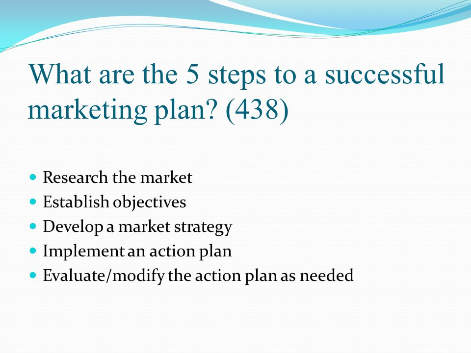 What are the 5 steps to a successful marketing plan (438)