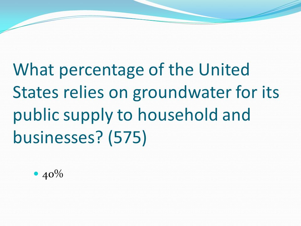 What percentage of the United States relies on groundwater for its public supply to household and businesses (575)