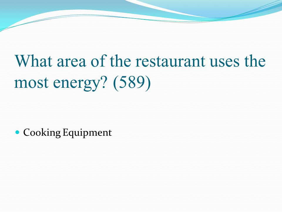 What area of the restaurant uses the most energy (589)