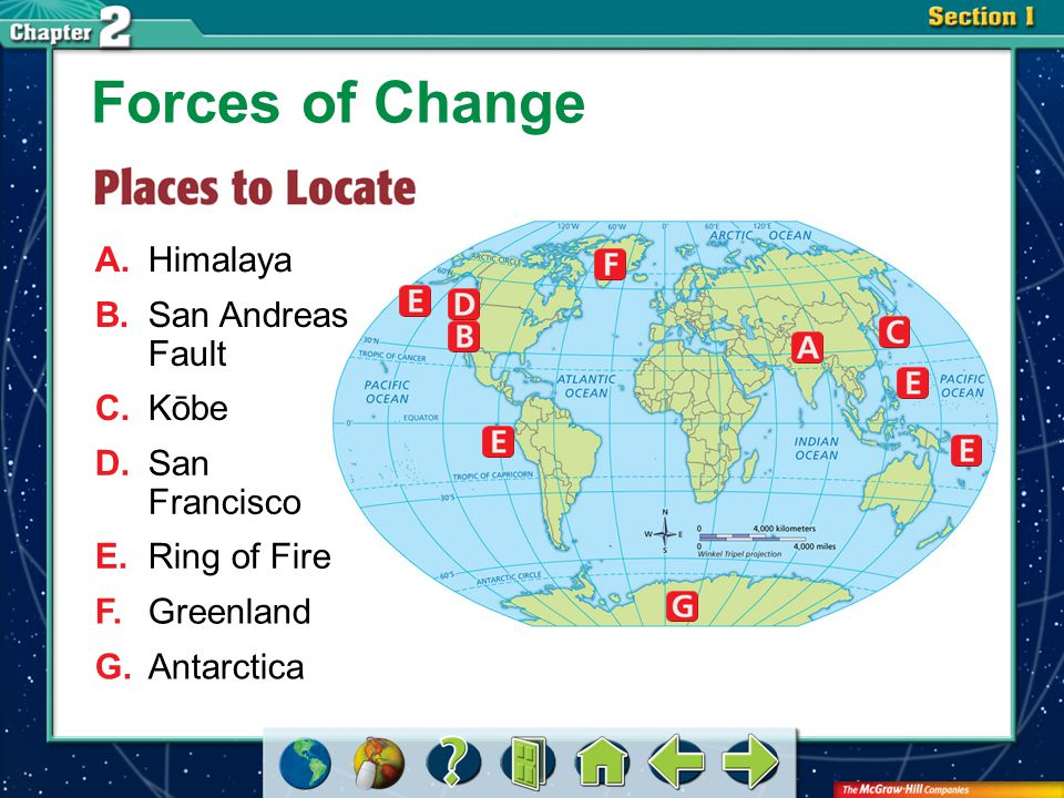 Forces of Change A. Himalaya B. San Andreas Fault C. Kōbe