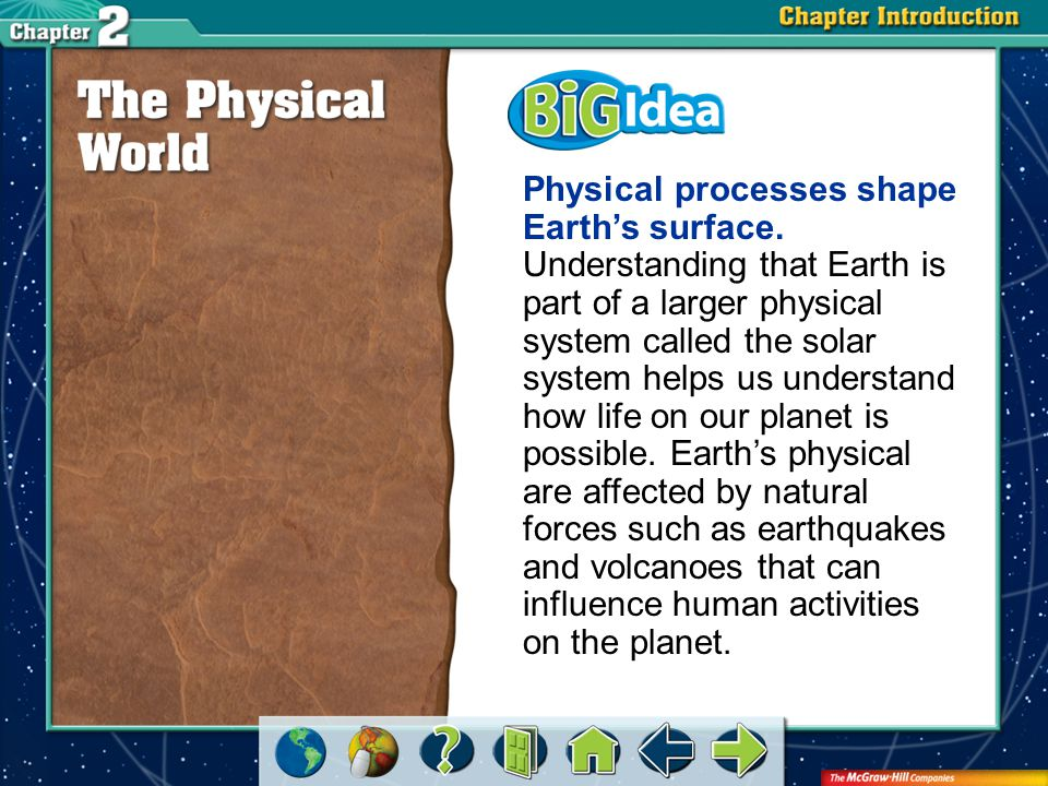 Physical processes shape Earth's surface