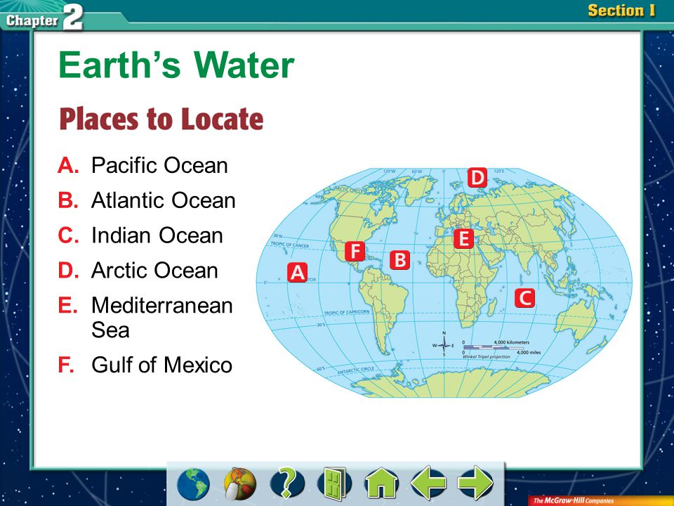 Earth's Water A. Pacific Ocean B. Atlantic Ocean C. Indian Ocean
