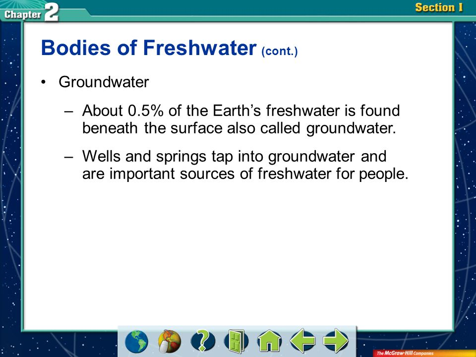 Bodies of Freshwater (cont.)