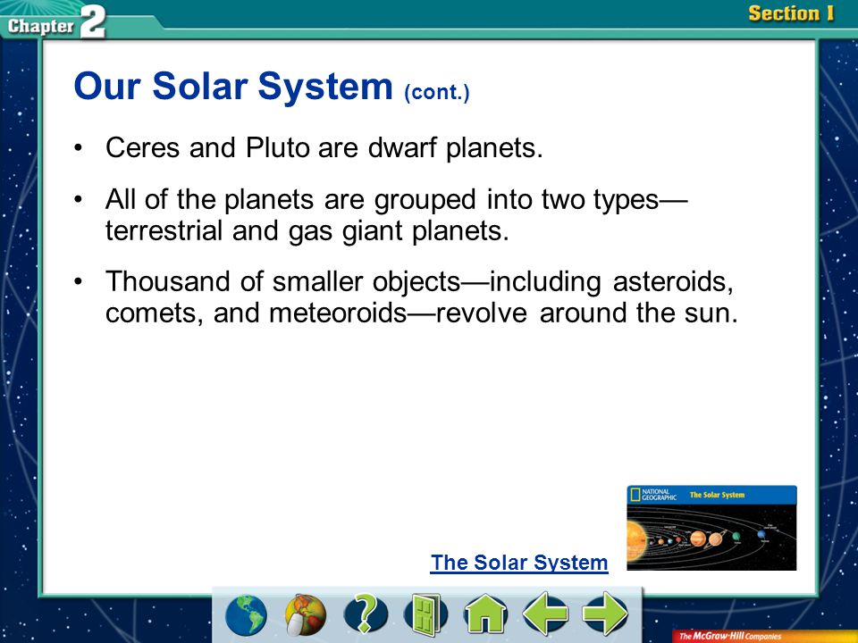 Our Solar System (cont.)