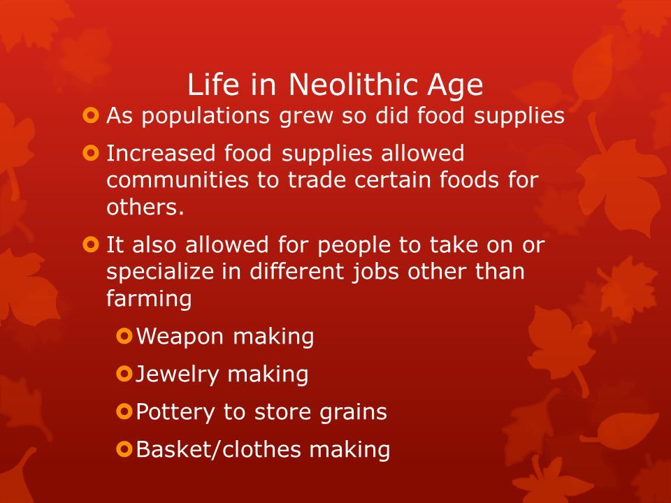Life in Neolithic Age As populations grew so did food supplies