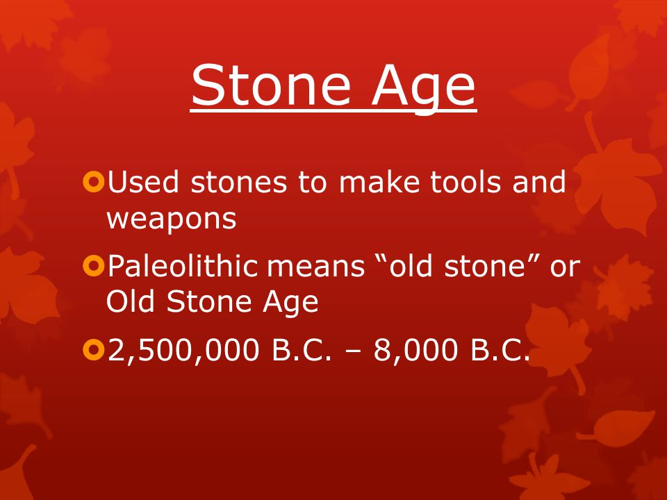 Stone Age Used stones to make tools and weapons