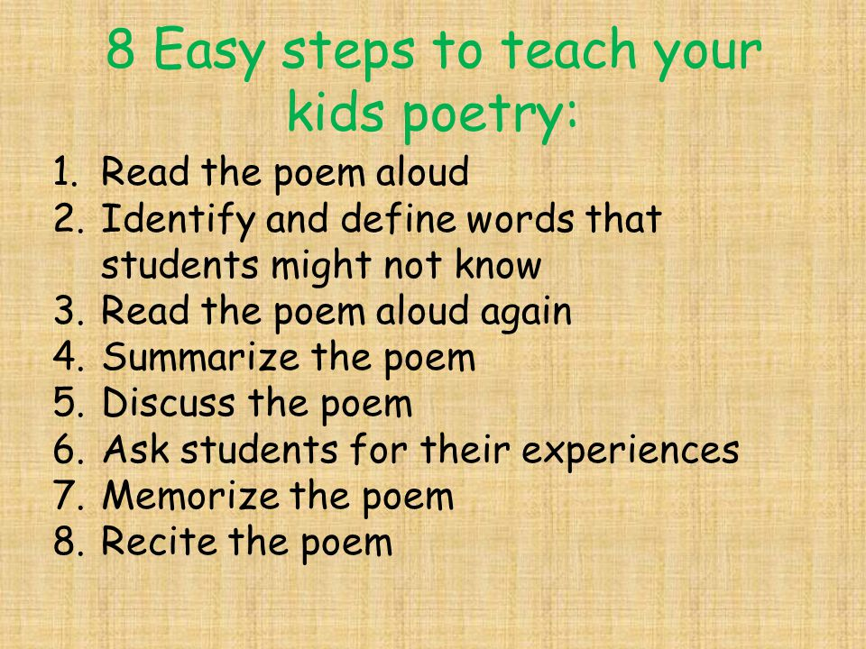 8 Easy steps to teach your kids poetry: