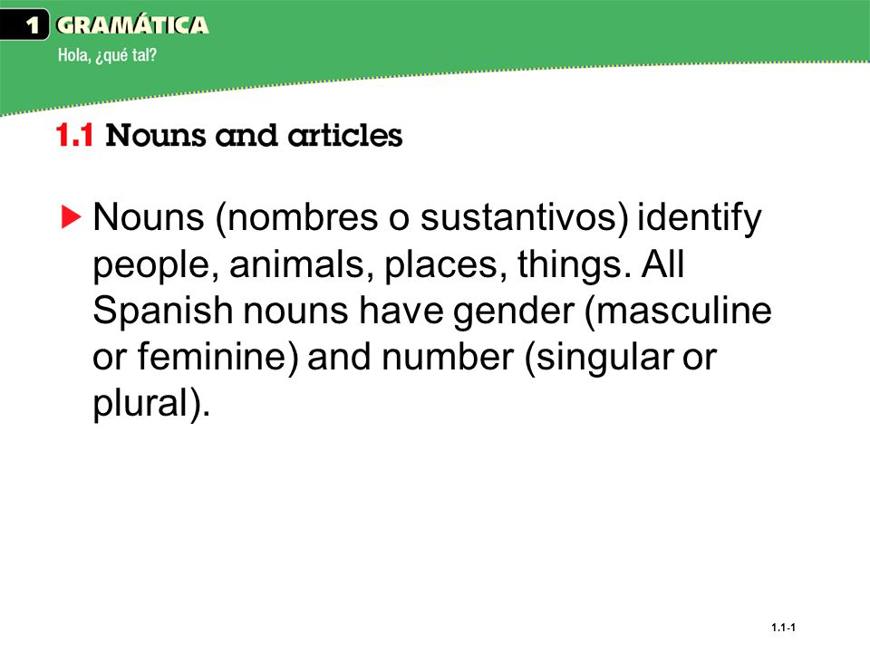 Nouns (nombres o sustantivos) identify people, animals, places, things