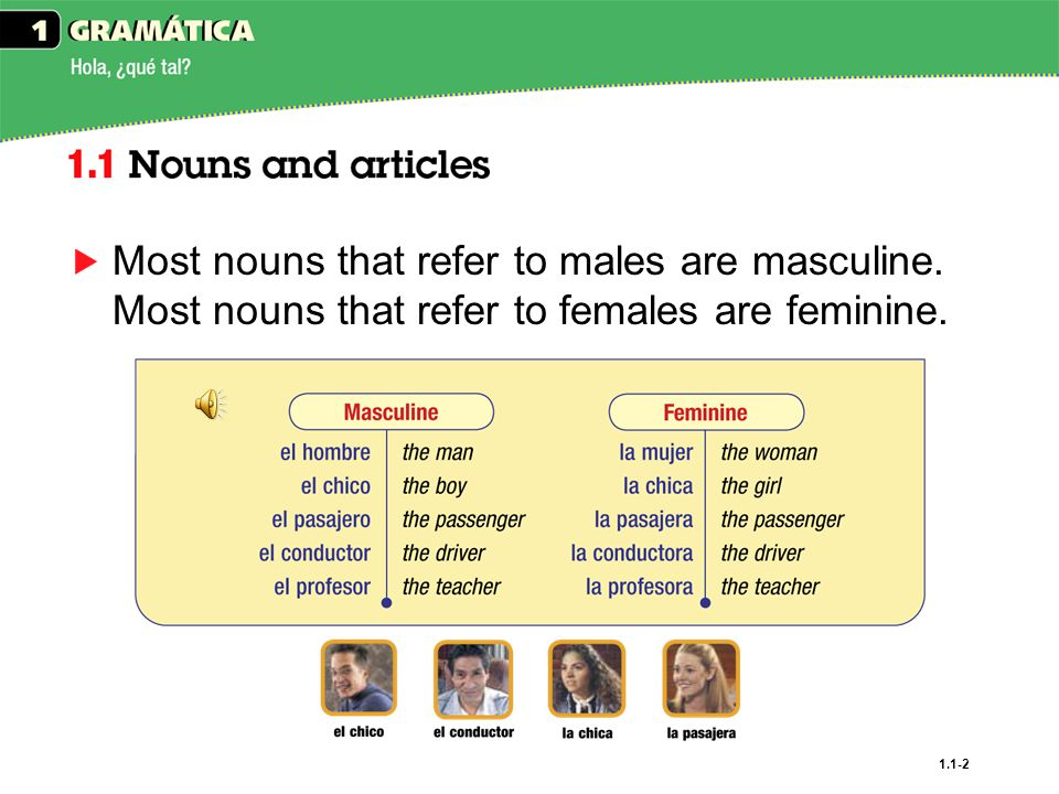 Most nouns that refer to males are masculine