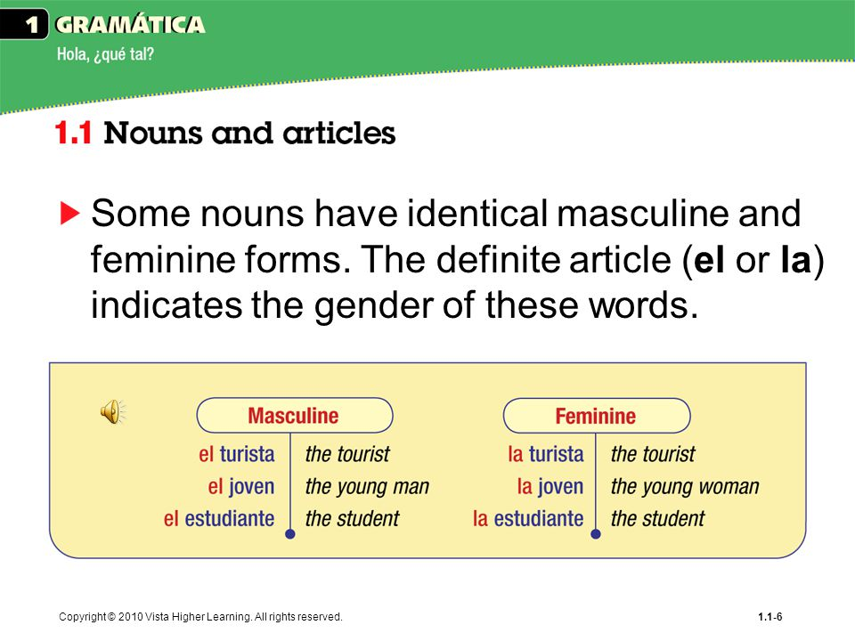 Some nouns have identical masculine and feminine forms