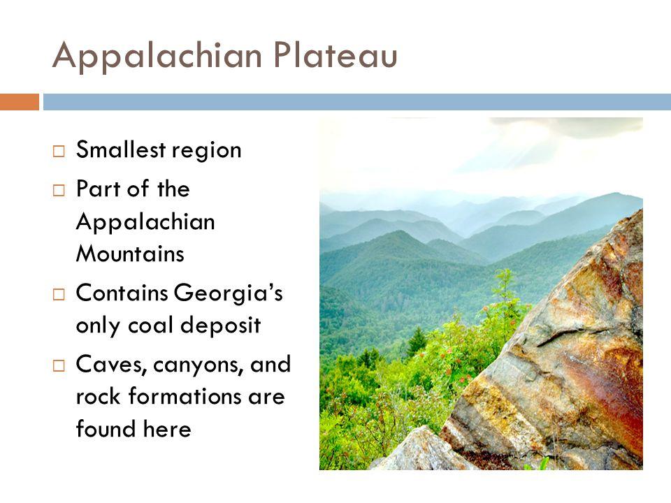 Appalachian Plateau Smallest region Part of the Appalachian Mountains
