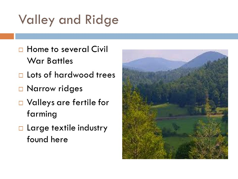 Valley and Ridge Home to several Civil War Battles