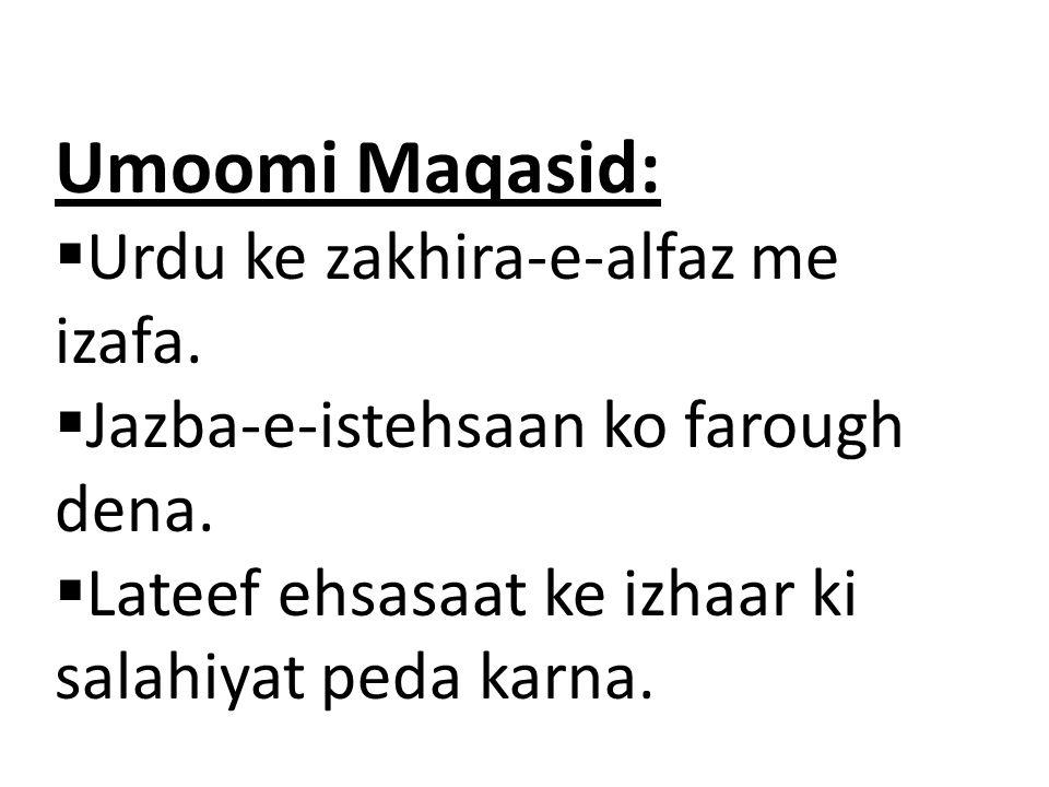 Umoomi Maqasid: Urdu ke zakhira-e-alfaz me izafa.