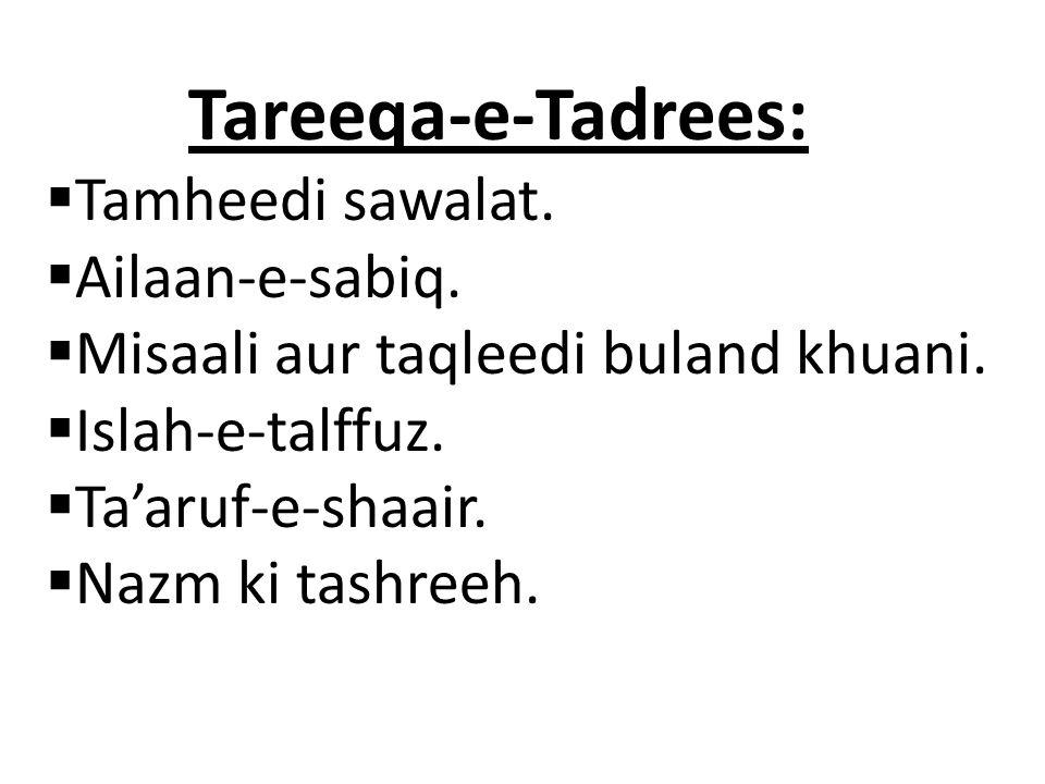 Tareeqa-e-Tadrees: Tamheedi sawalat. Ailaan-e-sabiq.