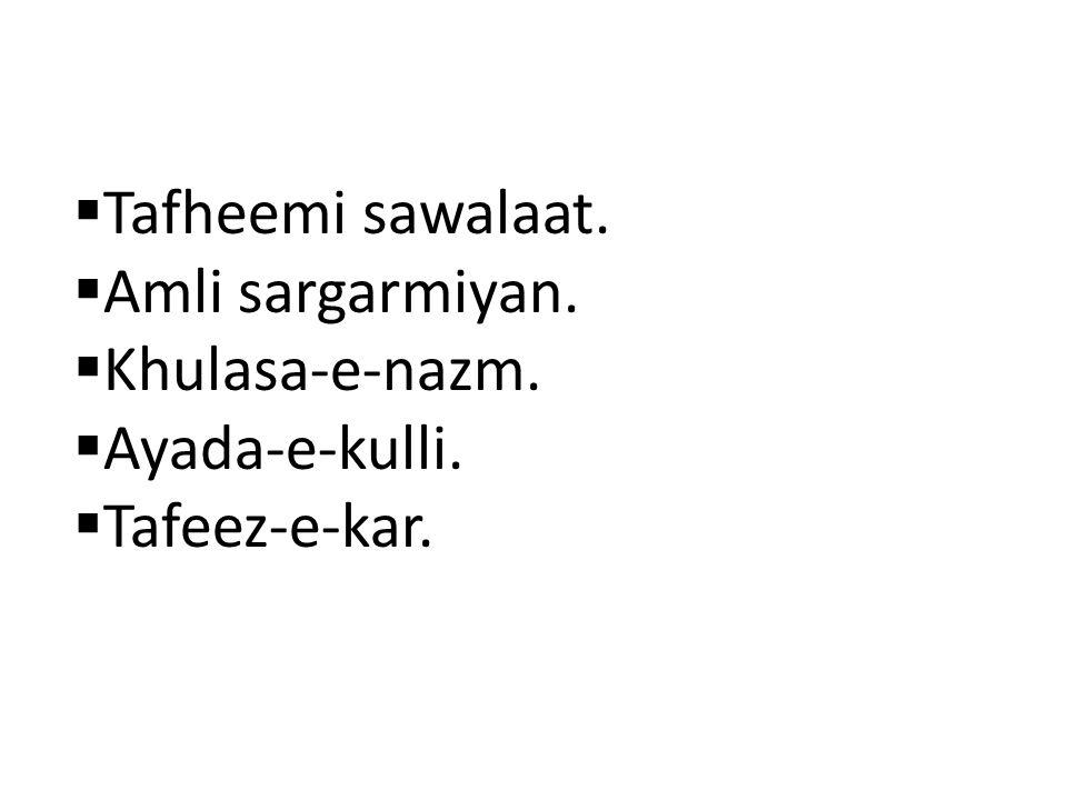Tafheemi sawalaat. Amli sargarmiyan. Khulasa-e-nazm. Ayada-e-kulli. Tafeez-e-kar.