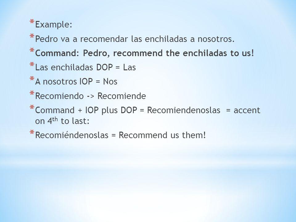 Example: Pedro va a recomendar las enchiladas a nosotros. Command: Pedro, recommend the enchiladas to us!