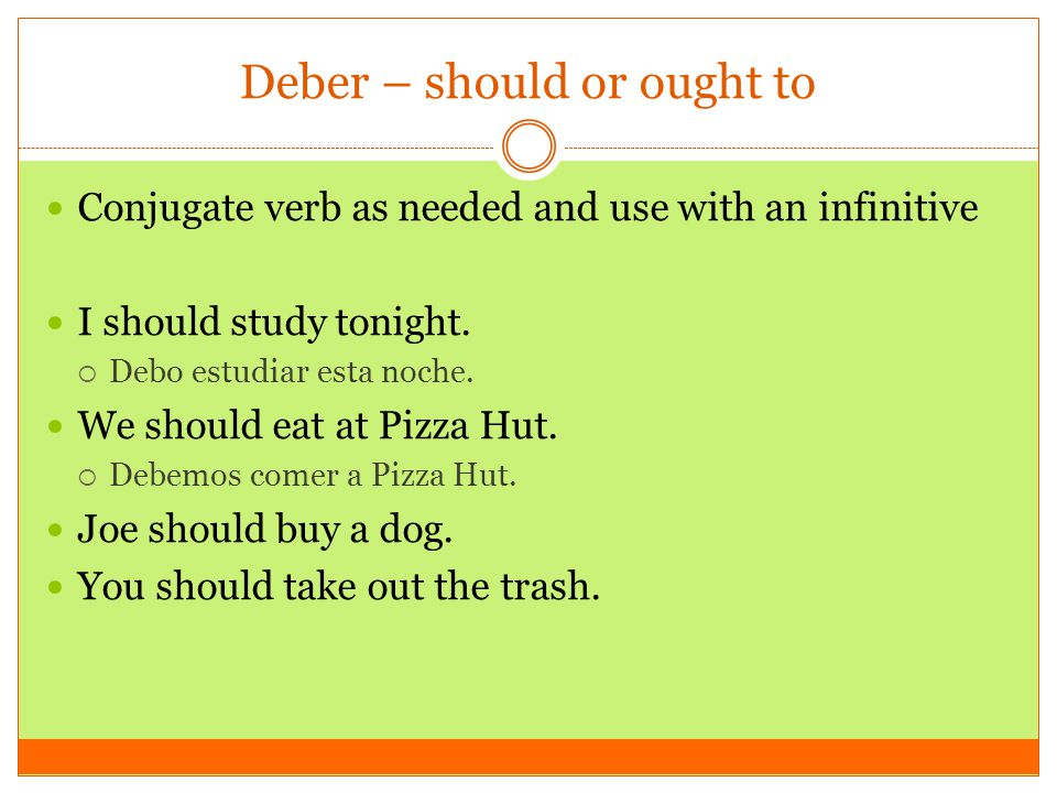 Deber – should or ought to